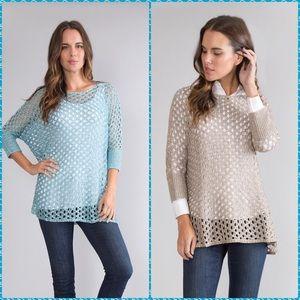 NWT S to XXL aqua, khaki, stone open weave shirt